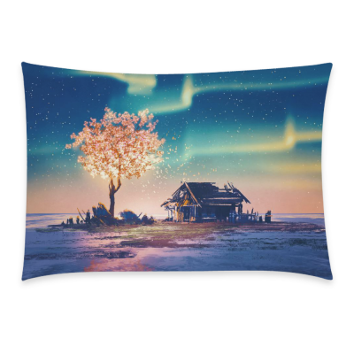 InterestPrint Northern Nebula Galaxy Tree of Life Home Decor, House and Fantasy Tree Lights Star Pillowcase 20 x 30 Inches - Galaxy Space Soft Pillow Cover Case Shams Decorative