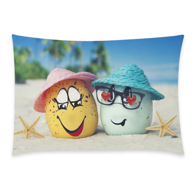 InterestPrint Easter Emoji Face Eggs Starfish Beach for Couch Bed 20 x 30 Inches One Side - Emoticon Smiley Soft Pillow Cover Shams Decorative