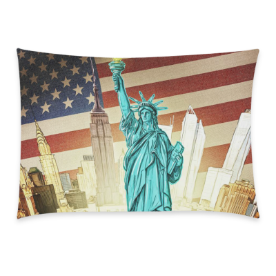 InterestPrint American Flag Home Decor, Retro New York Statue of Liberty Pillowcase 20 x 30 Inches - Vintage Soft Pillow Cover Case Shams Decorative