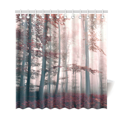 InterestPrint Woodsy Shower Curtain Red Mystic For Shower Curtain