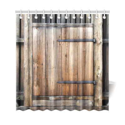 InterestPrint Farmhouse Shower Curtain Brown Decor, Rustic Antique Wooden Door Exterior Facade Rural Shower Curtain