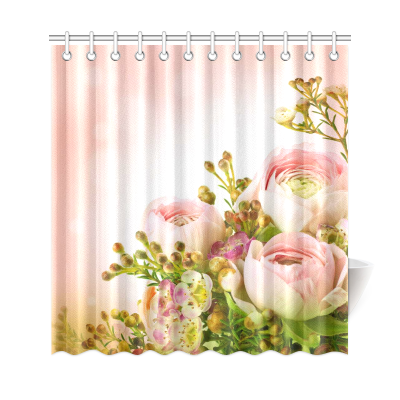 InterestPrint Greenery Floral Rose Decor Pink Rose Shower Curtain