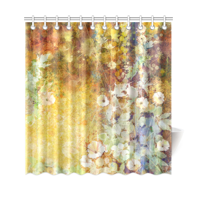InterestPrint Floral Shower Curtain Leaves Decor, Watercolor Painting Flowers Soft Green Romantic Grunge Antique Vintage Theme, Polyester Fabric Bathroom Set with Hooks, Yellow Brown Multicolored