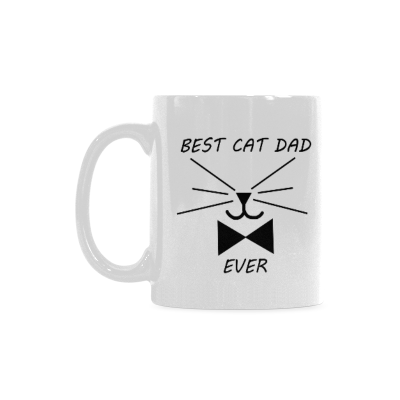 InterestPrint Funny Cat Gifts Best Cat Dad Ever Cat Lovers Cat Memes Gift Coffee Mug Tea Cup Classical White Mug(11 OZ)