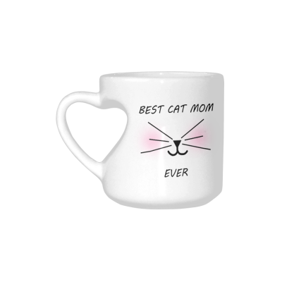 InterestPrint Funny Cat Gifts Best Cat Mom Ever Cat Lovers Cat Memes Gift Coffee Mug Tea Cup White Heart-shaped Mug(10.3 OZ)