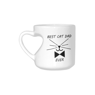 InterestPrint Funny Cat Gifts Best Cat Dad Ever Cat Lovers Cat Memes Gift Coffee Mug Tea Cup White Heart-shaped Mug(10.3 OZ)