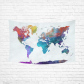 InterestPrint Abstract Art Splatter Painting Home Decor, Watercolor World Map Colorful Cotton Linen Tapestry Wall Hanging Art Sets