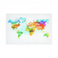 InterestPrint Watercolor Art Home Decor, Colorful World Map Cotton Linen Tapestry Wall Hanging Art Sets