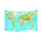 InterestPrint Physical Map of the World Cotton Linen Tapestry Wall Hanging Art Decorative Tapestry Sets