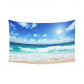 InterestPrint Tropical Seascape Tapestry, Beach on the Seychelles Island Cotton Linen Tapestry Home Decor Wall Hanging Art Sets