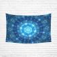 InterestPrint Abstract Home Decor Art, Blue Glowing Spherical Fractal Artwork Cotton Linen Tapestry Wall Hanging Art Sets