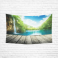 InterestPrint Beautiful Bule Sky Wall Art Home Decor, Waterfall in Deep Forest of Croatia Cotton Linen Tapestry Wall Hanging Art Sets