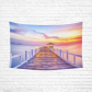 InterestPrint Beautiful Sunset Wall Art Home Decor, Wooded Bridge in the Ocean Cotton Linen Tapestry Wall Hanging Art Sets