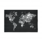 InterestPrint Globe Decor, World Map Silhouette Made with Musical Instruments Black and White Cotton Linen Tapestry Wall Hanging Art Sets