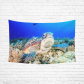 InterestPrint Seascape Wall Art Home Decor, Underwater World with Sea Turtle and Coral Cotton Linen Tapestry Wall Hanging Art Sets