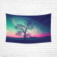 InterestPrint Galaxy Nebula Stars Wall Art Home Decor, Red Alien Silhouette Moonlight Fantasy World Print Cotton Linen Tapestry Wall Hanging Art Sets