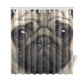 InterestPrint Funny Cute Animals Home Decor, Lovely Close-up Pug Dog Face Polyester Fabric Shower Curtain Bathroom Sets