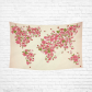 InterestPrint Earth Map Wall Art Home Decor, Floral World Map Pink Cotton Linen Tapestry Wall Hanging Art Sets