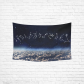 InterestPrint Beautiful Universe White Earth Zodiac Sign Tapestry Wall Hanging Galaxy Space Wall Decor Art for Living Room Bedroom Dorm Cotton Linen Decoration
