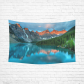 Interestprint Morning Sunrise Moraine Mountain Lake Tapestry Wall Hanging National Park Landscape Wall Decor Art for Living Room Bedroom Dorm Cotton Linen Decoration