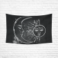 Interestprint Romantic Elegant Black and White Sun Moon Stars Tapestry Wall Hanging Vintage Boho Wall Decor Art for Living Room Bedroom Dorm Cotton Linen Decoration