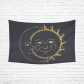 InterestPrint Vintage Graphics Golden Face Sun Moon Stars Tapestry Wall Hanging Gold Retro Boho Wall Decor Art for Living Room Bedroom Dorm Cotton Linen Decoration