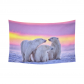 InterestPrint White Polar Bear Family At Sunset Tapestry Horizontal Wall Hanging Wild Animal Wall Decor Art for Living Room Bedroom Dorm Cotton Linen Decoration