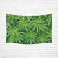 InterestPrint Cannabis Green Leaves Marijuana Tapestry Horizontal Wall Hanging Psychedelic Wall Decor Art for Living Room Bedroom Dorm Cotton Linen Decoration