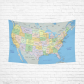 InterestPrint Educational Wall Art Home Decor, United States of America Map Cotton Linen Tapestry Wall Hanging Art Sets