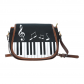 InterestPrint Piano Music Notes Black Waterproof Fabric Messenger Saddle Bag Purse