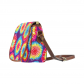 InterestPrint Colorful Tie Dye Waterproof Fabric Messenger Saddle Bag Purse