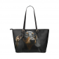 InterestPrint Cute Dachshund Puppy Dog Black Women's PU Leather Shoulder Tote Bag Purse