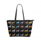 InterestPrint Dachshund Dog Black Paw Print Women's PU Leather Shoulder Tote Bag Purse