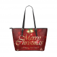InterestPrint Red Starry Merry Christmas Women's PU Leather Shoulder Tote Bag Purse