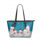 InterestPrint Family of Snowman Christmas Women's PU Leather Shoulder Tote Bag Purse