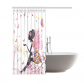 InterestPrint Pink Butterfly Girl with Floral Dress Shower Curtain