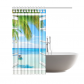 InterestPrint Ocean Shower Curtain Decor, Tropical Palm Trees on an Island Beach Through White Wooden Shower Curtain