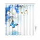InterestPrint Fabric Shower Curtain, Resort Spa Home Decor Blue White Wild Flowers Monarch Yellow Bu Shower Curtain